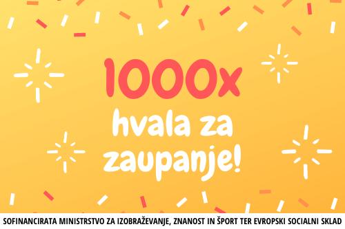 Več kot 1000 izdanih potrdil za uspešno opravljen tečaj!